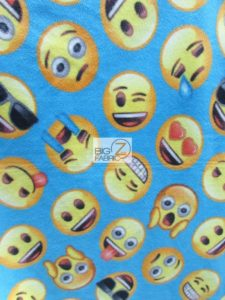 Emoji Polar Fleece Fabric Blue