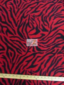 Zebra Polar Fleece Fabric Red