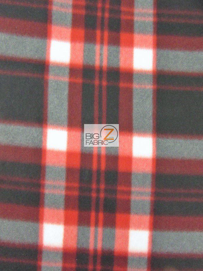 Red/Black Tartan Plaid Polar Fleece Fabric