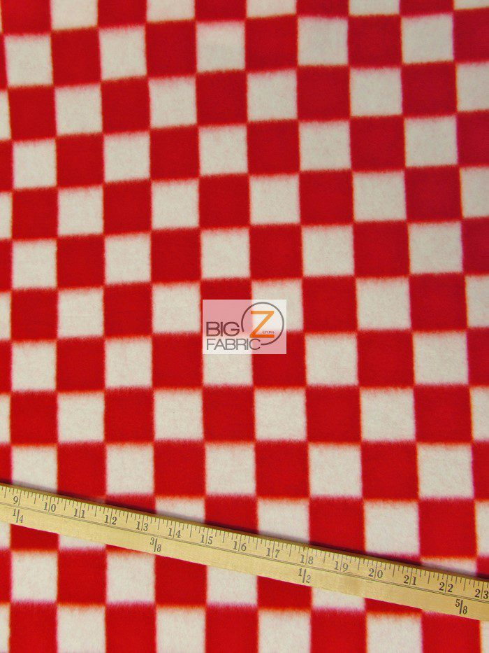 Red/White Tartan Plaid Polar Fleece Fabric