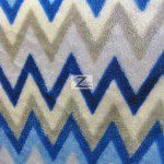 Chevron Zig Zag Microfleece Fabric Blue