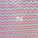 Wholesale Zig Zag Chevron Polar Fleece Fabric Multi Pink