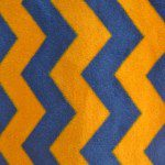 Zig Zag Chevron Polar Fleece Fabric Blue Orange