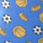 Fleece Printed Fabric Sports Mix Three Sports Blue