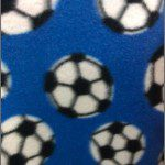 Soccer Print Polar Fleece Fabric Blue