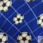 Soccer Print Polar Fleece Fabric Blue Soccer Net