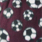 Soccer Print Polar Fleece Fabric Burgundy