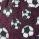 Soccer Print Polar Fleece Fabric Burgundy