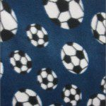 Soccer Print Polar Fleece Fabric Navy Blue