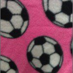 Soccer Print Polar Fleece Fabric Pink