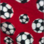 Soccer Print Polar Fleece Fabric Red