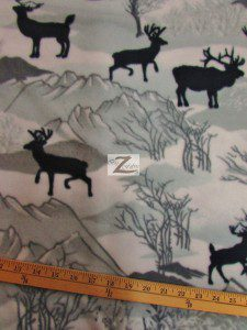 Baum Textile Mills Fleece Printed Fabric Winter Deer
