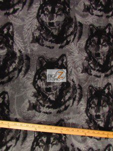 Baum Textile Mills Fleece Printed Fabric Wolf Pewter