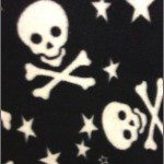 Fleece Printed Fabric Skull Bones Black White Stars & Skulls