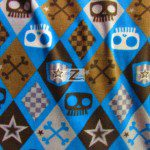Fleece Printed Fabric Skull Bones Checkered Skull & Bones Blue By David Textiles