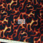 Flame Print Polar Fleece Fabric Roll Black Orange