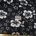 Fleece Printed Fabric Flower Hawaiian Black
