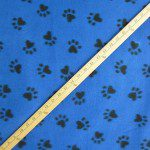 Paw Print Fleece Fabric By The Roll Blue
