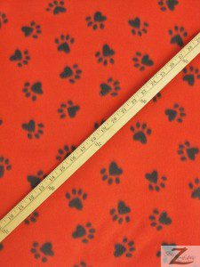 Paw Print Fleece Fabric By The Roll Red