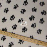 Paw Print Fleece Fabric By The Roll White