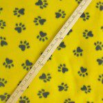 Paw Print Fleece Fabric By The Roll Yellow