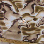 Big Horses Brown Wholesale Fleece Fabric