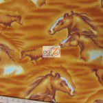 Big Horses Gold Wholesale Fleece Fabric