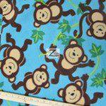 Wholesale Monkey Fleece Fabric Sky Blue Vine