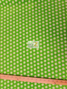 Wholesale Polka Dot Fleece Fabric Lime Green White Dots