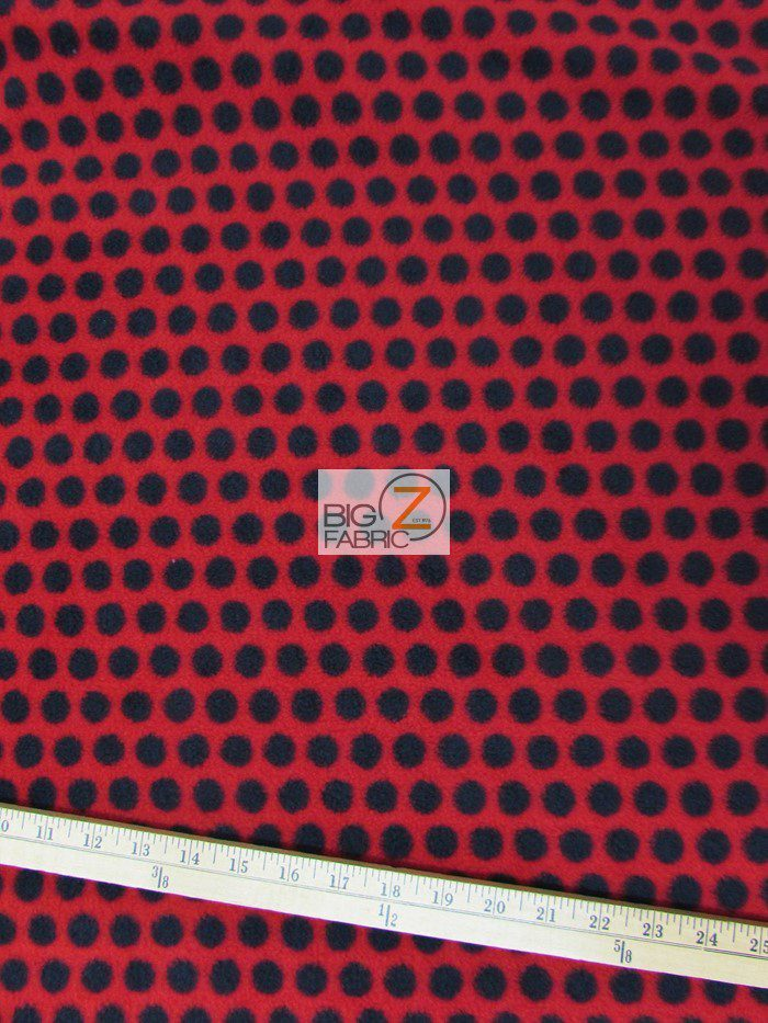 Wholesale Polka Dot Fleece Fabric Red Black Dots