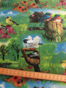 Nature Floral Bird Fleece Fabric Roll