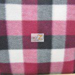 Wholesale Tartan Plaid Fleece Fabric Burgundy Red Black