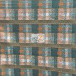 Wholesale Tartan Plaid Fleece Fabric Forest Green Brown