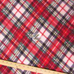 Wholesale Tartan Plaid Fleece Fabric Green Red