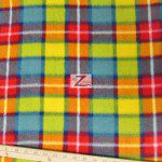 Wholesale Tartan Plaid Fleece Fabric Pink Yellow Green