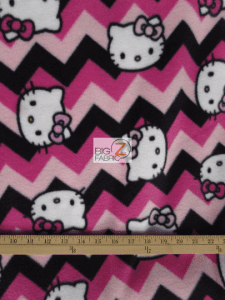 Chevron Hello Kitty Fleece Fabric