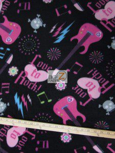 Guitar Fleece Fabric Rock n Roll