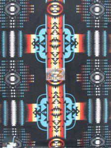 Aztec Indian Navajo Polar Fleece Fabric Black