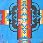 Aztec Indian Navajo Polar Fleece Fabric Blue