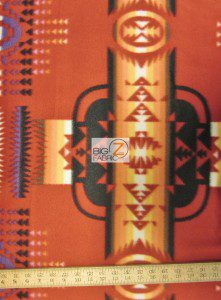 Aztec Indian Navajo Polar Fleece Fabric Red