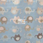 Baby Animal Fleece Fabric Elephants Blue
