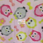 Baby Animal Fleece Fabric Owls Pink