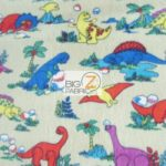 Baby Animal Fleece Fabric Prehistoric Dinosaurs