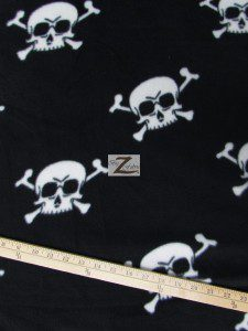 Halloween Skull Bones Fleece Fabric