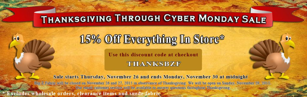 Big Z Fabric Thanksgiving Fleece Blowout Sale
