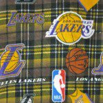 NBA Polar Fleece Fabric Los Angeles Lakers Plaid