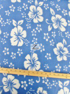 Wholesale Flower Hawaiian Fleece Fabric Baby Blue