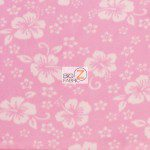 Wholesale Flower Hawaiian Fleece Fabric Baby Pink