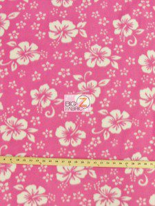 Wholesale Flower Hawaiian Fleece Fabric Pink