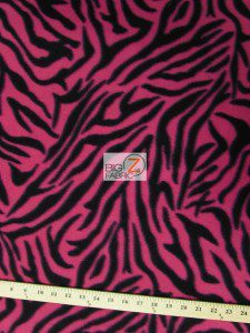 Zebra Fleece Fabric Fuchsia Roll
